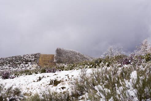 Snow at Way of St. James, near Cruz de Ferro, Spain - LMJF00095
