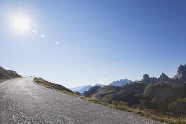Alpine road to Auronzo hut, Tre Cime di Lavaredo Area, Nature Park Tre Cime, Unesco World Heritage Natural Site, Sexten Dolomites, Italy - GWF06103