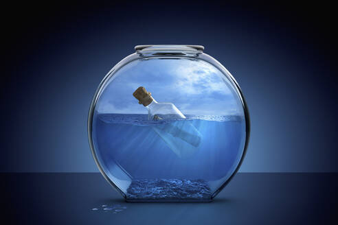 Message in a bottle in fishbowl - BLEF07503