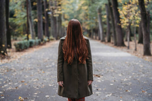 Young woman with long red hair covering her face in autumn park, portrait - CUF51436