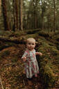 Baby girl exploring forest, Queenstown, Canterbury, New Zealand - ISF21508