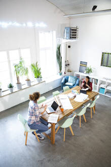 Two women working at table in modern office - FKF03364