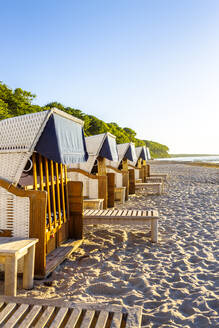 Hooded beach chairs at the beach, Heiligendamm, Germany - PUF01645