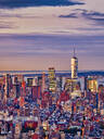 Aerial view of Manhattan skyline at sunset, New York City, New York, USA - HNF00811