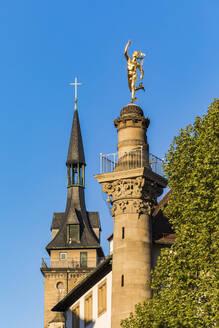 Deutschland, Baden-Württemberg, Stuttgart, Stiftskirche, Merkursäule, Merkur - WDF05273