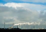 Wind turbines around the Delfzijl harbour area, Delfzijl, Groningen, Netherlands - CUF51579