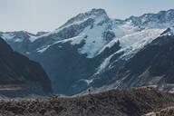 Hiker exploring wilderness, Wanaka, Taranaki, New Zealand - ISF21847