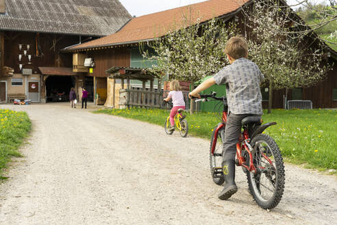 Girl and boy riding bicycle at a farm - FBAF00769