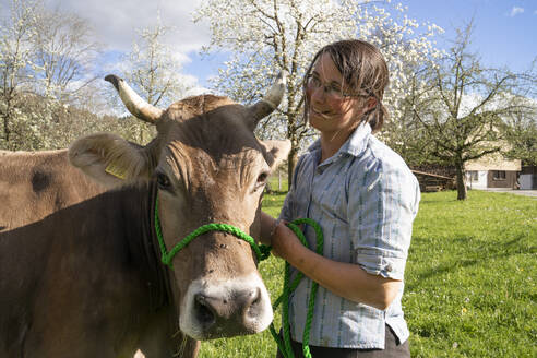 Smiling farmer with a cow on pasture - FBAF00849
