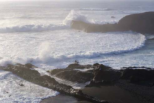 Black lava beach near El Gofo, Lanzarote, Spain - SIEF08716