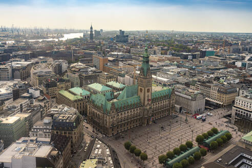Cityscape with city hall and old town, Hamburg, Germany - TAMF01613