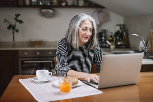 Portrait of senior woman using laptop at breakfast table - ALBF00895
