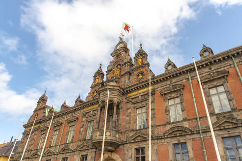 Low angle view of Town Hall against sky in Malmo, Sweden - TAMF01685