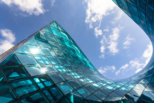 Low angle view of Emporia Shopping Center building against sky in Malmo, Sweden - TAMF01688