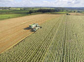 Aerial view of tractor filling trailer with harvested maize in sunny field - JUIF01989
