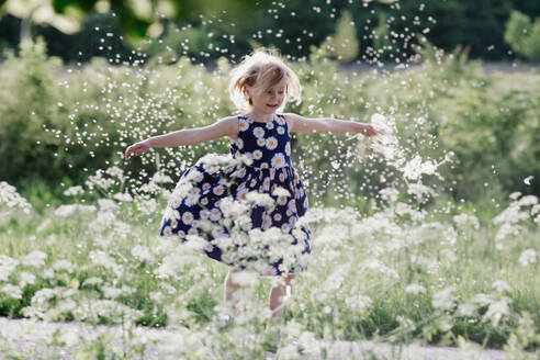 Portrait of smiling little girl playing with seeds of blowball - OGF00013
