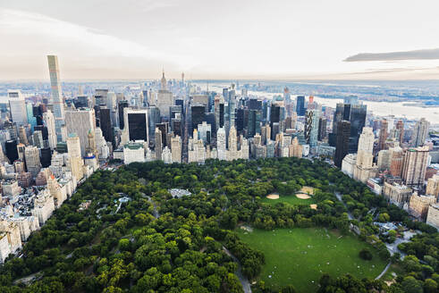 Aerial view of Central Park in New York City cityscape, New York, United States - BLEF08881