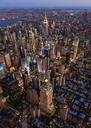 Aerial view of New York cityscape at dusk, New York, United States - BLEF08890