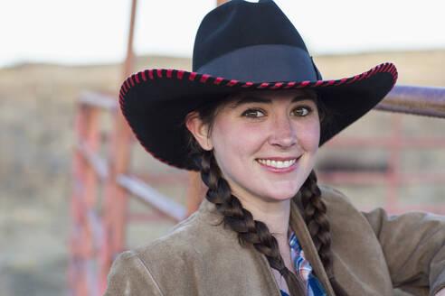 Caucasian girl smiling on farm - BLEF09244