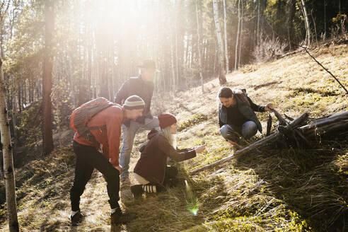 Friends hiking in sunny woods - HEROF37248