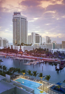 Miami Beach harbor and highrise buildings, Florida, United States - BLEF09353
