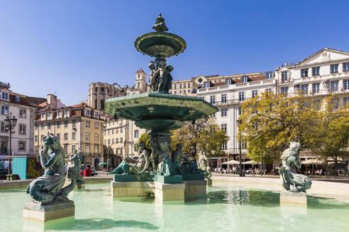 Portugal, Lissabon, Stadtzentrum, Innenstadt, Rossio, Platz, Brunnen - WDF05285