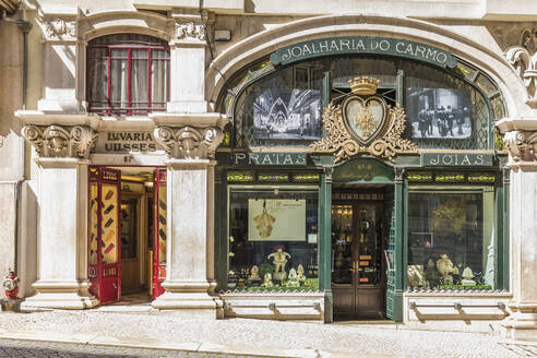 Portugal, Lisbon, Old fashioned stores at Rua do Carmo - WD05306