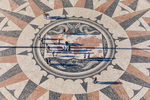 Portugal, Lisbon, Belem, High angle view of compass rose and map mosaic - WD05312
