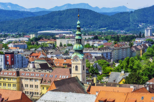 Austria,Carinthia,KlagenfurtamWorthersee, High angle view of city with church tower - THAF02523