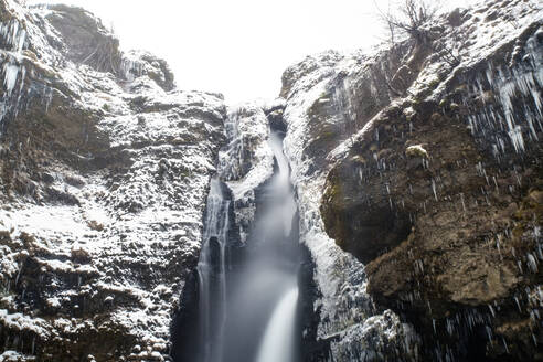 Iceland, South Iceland, Gluggafoss waterfall in winter - TAMF01729
