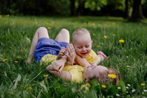 Kinder liegen lachend auf dem Gras mit Pusteblumen in Köln beim Kinderfotoshooting outdoor aufgenommen Taraxacum sect. Ruderalia - OGF00028