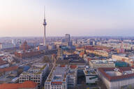 High angle view of Fernsehturm in Berlin city against sky - TAMF01777