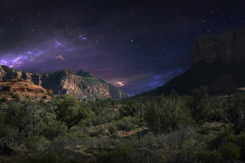 Desert landscape and night sky, Sedona, Arizona, United States - BLEF09806