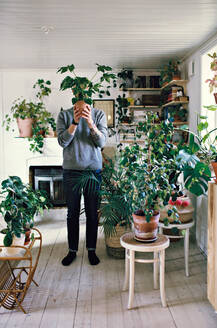 Full length of man holding potted plant in front of face standing at home - MASF13218