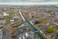 Aerial view of canal amidst Leiden city - TAMF01819