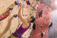 Climbers scaling rock wall - BLEF09942