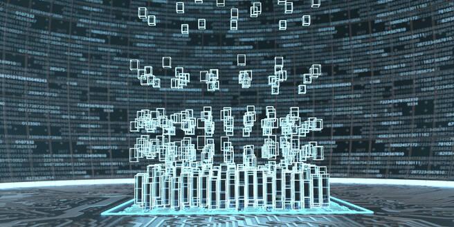 Abstract visualization of blockchain technology, 3d illustration - ALF00754