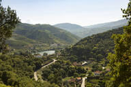 Distant view of vineyards on hill by Duoro river against sky - FCF01752