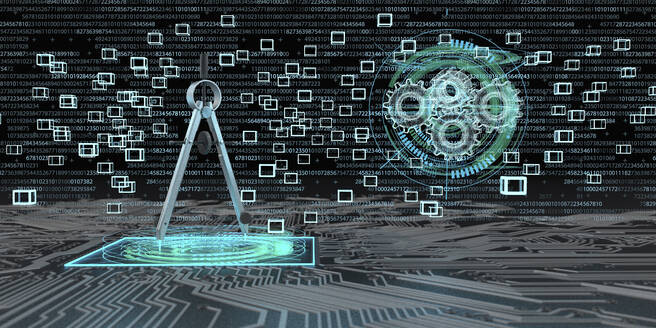 Digital engineering - compass on a board with blocks and gears as hologram. 3d illustration. - ALF00757