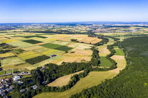 Aerial view over grain fields, meadows, woods and villages, Wetterau, Germany - AMF07200