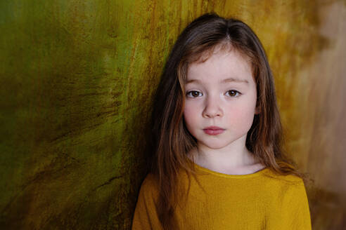 Portrait of little girl with long brown hair - OGF00070