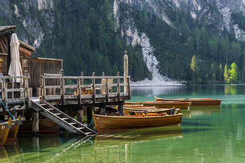 Boathouse at Pragser Wildsee, Braies Dolomites, Alto Adige, Italy - STSF02114