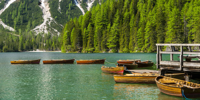 Row of rowing boats on Pragser Wildsee, Braies Dolomites, Alto Adige, Italy - STSF02117