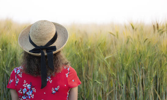 Back view of woman wearing straw hat and red summer dress with floral design standing in front of grain field - FLLF00244