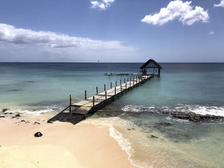 Old boardwalk at the beach, Pointe aux Pimente, Mauritius - DRF01746
