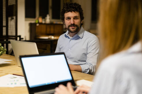 Working at night in a start-up, office, coworking - GIOF06746
