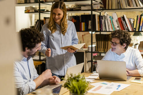 Working at night in a start-up, office, coworking - GIOF06752