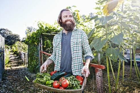 Caucasian man holding basket of vegetables in garden - BLEF10525