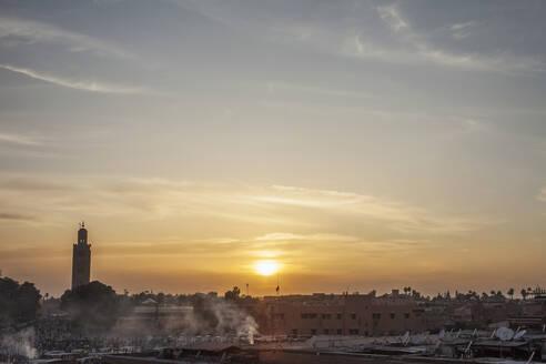 Sunrise over Marrakech landscape, Marrakesh-Asfi, Morocco - BLEF11549
