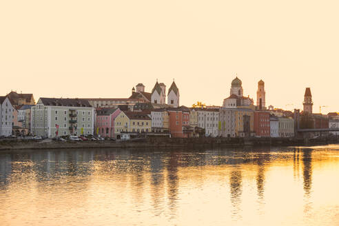 Sunset at Passau in autumn, Bavaria, Germany - JUNF01670